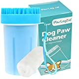 Upgrade 2 in 1 Dog Paw Cleaner & Pet Grooming Brush - Portable Pet Paw Cleaner with Towel,Soft Silicone dog foot washer for Dog Cat Grooming with Muddy Paws (Blue,Large)