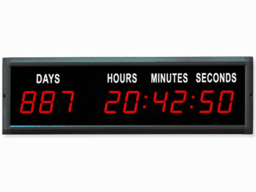 EU Electronic 1.8'' Red Color LED Countdown Clock Count Up with IR Remote (RED)