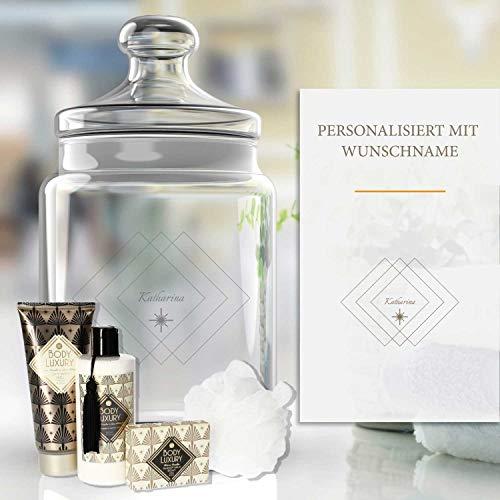 Pflege-Geschenkset Luxus 5-TLG.  Personalisiertes Glas mit Name, Shampoo, Duschgel, Seife, Schwamm   Geschenk für Frauen   Valentinstag