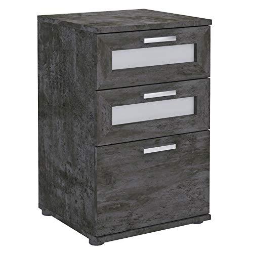 CARO-Möbel Nachttisch für Boxspringbetten MARIKE Nachtschrank Nachtkommode in dunkler Betonoptik, mit 3 Schubladen
