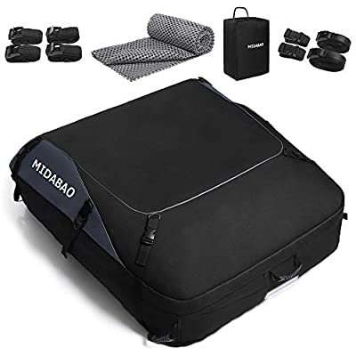 MIDABAO Thickened 20 Cubic Waterproof Duty Car Roof Top Carrier-Car Cargo Roof Bag Car Roof Top Carrier - Easy to Install Soft Rooftop Luggage Carriers with Wide Straps 20 Cubic Feet