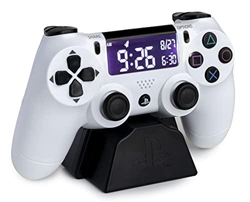 Paladone PP8342PS Manette de Playstation Réveil avec écran LCD rétroverse Blanc