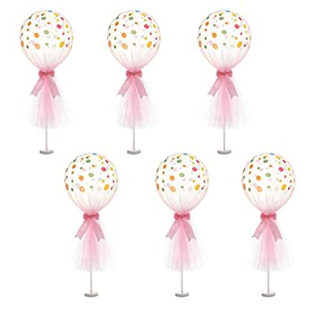 Suppromo Pink Polka Dot Balloons Set Tutu Tulle Balloons With Column Base Kit for Baby Shower Girl Wedding Birthday Party Table Decorations 12 inch Pink Tulle Balloon 6 Pack