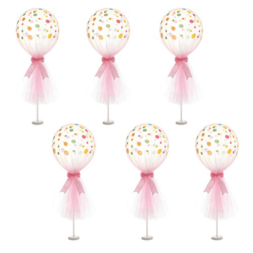 Suppromo Pink Polka Dot Balloons Set Tutu Tulle Balloons With Column Base Kit for Baby Shower Girl Wedding Birthday Party Table Decorations(12 inch Pink Tulle Balloon, 6 Pack)