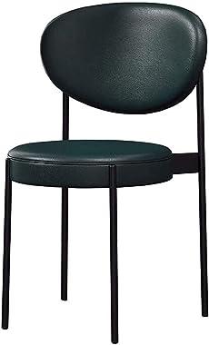 Dining Chair Black Metal Frame Leisure Coffee Chair PU Cushion Makeup Chair Office Reception Chair Assembly 50x50x83cm,Green