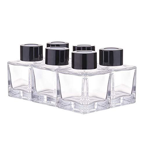 BENECREAT 6 Pack 50ml Botellas de Difusor de Vidrio con Tapa Negra Contenedor Rectángulo de Cristal de Difusor con Tapón Plástico a Prueba de Fugas para Perfume y Aceite Esencial