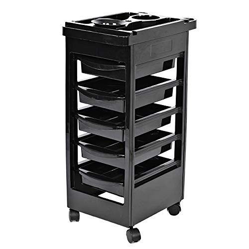 Filfeel Salon Spa Trolley Storage Cart with 5 Drawers, Coloring Beauty Salon Hair Dryer Holder Stylist Trolley in Black