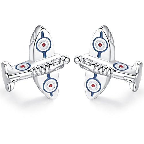 HONEY BEAR Herren Manschettenknöpfe Flugzeug Spitfire Form Cufflinks Edelstahl 1 Paar (Silber 1)