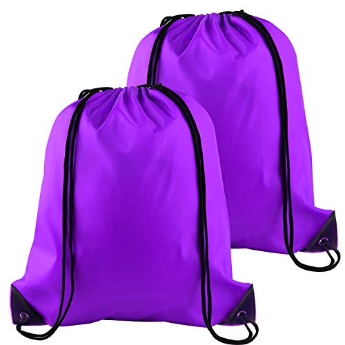 FEPITO 2 Pack Drawstring Backpack Bags Tote Sack Cinch Bag String Backpack for Gym Traveling, Purple