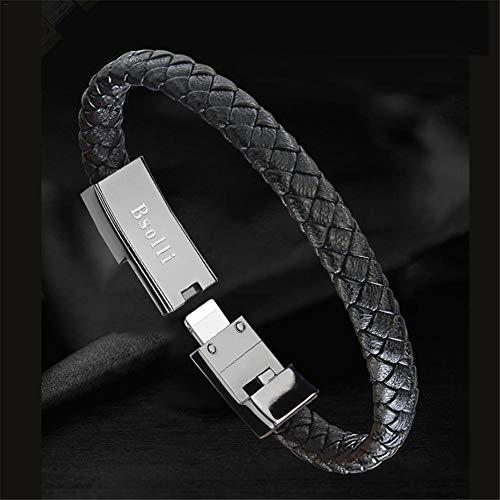 juman634 Cable de Datos Universal Cable de Cargador de Datos de Pulsera Inteligente de Cuero Tejido Tipo C para iPhone OPPO Huawei MI Smart Watch