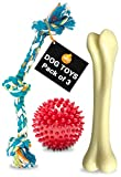 Boltz Natural Rubber Spiked Ball,Nylon Dog Chew Bone,Durable Dog Chew Knotted Cotton Rope Dog Toys (Combo of 3)