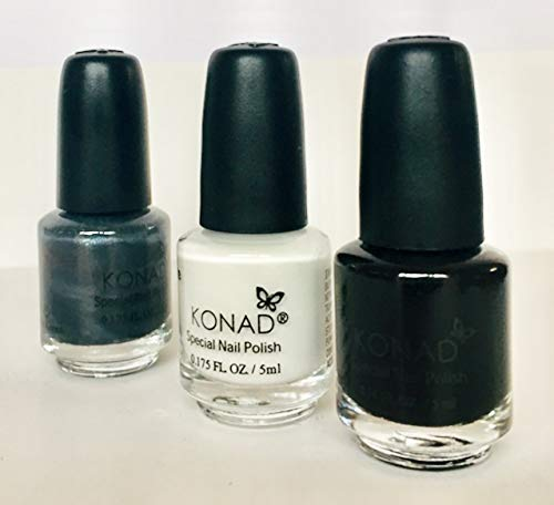 KONAD Small Nail Stampinglack 3er-Set weiss, schwarz und silber - Vorteilspack [3x 5ml]
