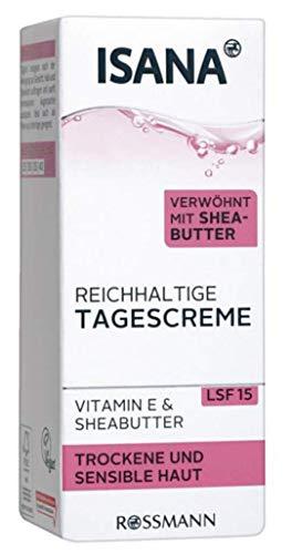 ISANA reichhaltige Tagescreme - Für trockene & sensible Haut, verwöhnt mit Shea Butter, Vitamin E & Sheabutter, LSF 15-50 ml