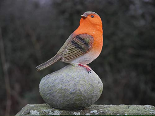HomeZone Robin Redbreast Perched On Stones Resin Bird Set Highly Detailed Garden Ornaments Christmas Decoration Indoor Or Outdoor Use.