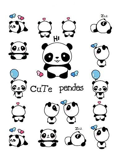 YACHAO Panda Autoadesivo del Tatuaggio Temporaneo Impermeabile del Tatuaggio di Falsificazione del Fumetto Adolescenti Bambini Body Art Strumenti di Trucco 15X11 Cm