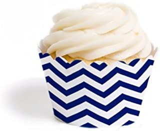 Dress My Cupcake Standard Cupcake Wrappers, Chevron, Navy Blue, Set of 50