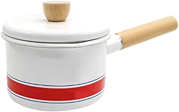 NXYCG Enamel Small Milk Pan with Lid Spout Frying Pan Auxiliary 14cm Single Handle White
