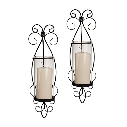 Wall Candle Sconce Set with Glass Hurricanes - Wrought Iron - Set of 2