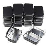 Goodma 20 Stück rechteckige Metalldosen Leere Scharnierdosen Behälter Basic Notwendigkeiten Home Storage Organizer Mini Box Set 95 x 62 x 20 mm Schwarz