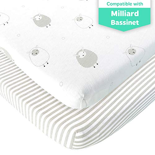 Bedside Sleeper Bassinet Sheets – Compatible with Milliard Side Sleeper –Fits 21 x 36 Mattress Without Bunching – Snuggly Soft Jersey Cotton – Grey Sheep, Stripe –2 Pack
