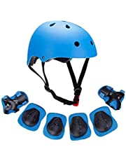 U-HOOME Kids Bike Helmet, Toddler Helmet for Ages 3-8 Boys Girls with Sports Protective Gear Set Knee Elbow Wrist Pads for Skateboard Cycling Scooter Rollerblading