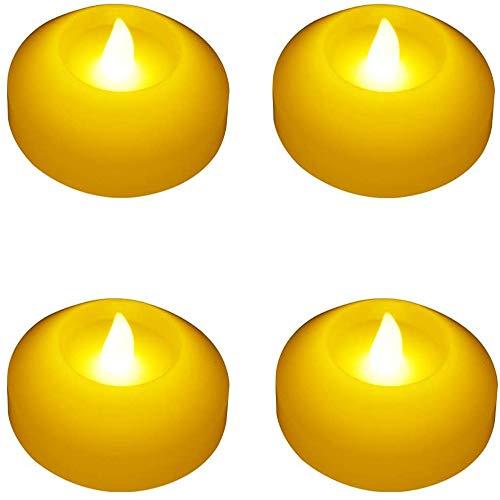 Velas flotantes de cera sin llama, funciona con pilas, parpadeo lento, luces LED impermeables para el hogar, exteriores, fiestas, cumpleaños, bodas, centro de mesa, jarrones de baño, piscina (ámbar)