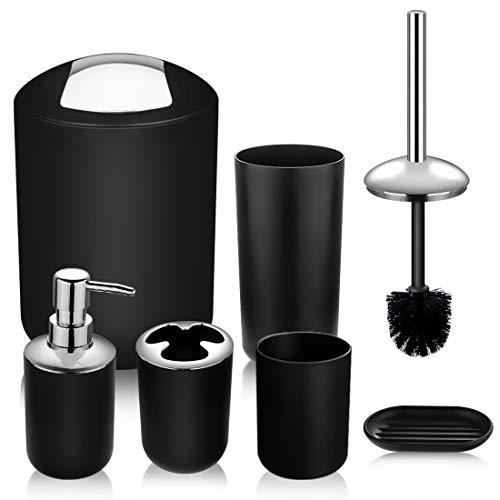 Papillon Bathroom Accessories Set-6 Piece Plastic Gift Set Toothbrush Holder,Toothbrush Cup,Soap Dispenser,Soap Dish,Toilet Brush Holder,Trash Can,Tumbler Straw Set Bathroom (Black)