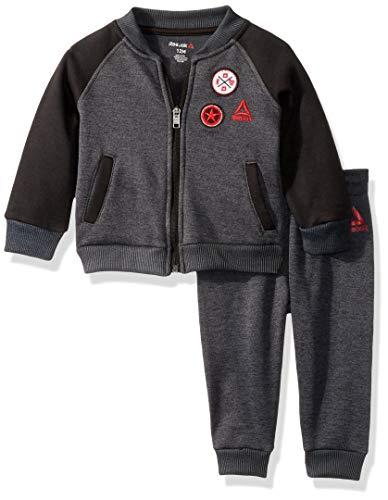 Reebok Baby-Jungen 2 Piece Athletic Hosen Set, Letterman Jacke Shark Heather, 12M US