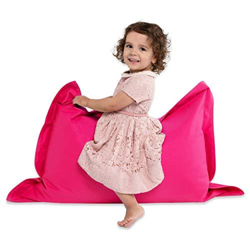 Green Bean © BeBi Mini Sitzsack 100x70 cm - 70 Liter EPS Perlen Füllung - PVC Bezug - Indoor & Outdoor Beanbag für Kinder - Sitzkissen Bean Bag Bodenkissen - Kindersitzsack Stuhl - Pink