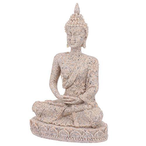 POPETPOP Pecera Estatua de Buda Adorno Acuario Arenisca Buda Sentado Estatuilla Decoración del Paisaje (Estilo B)