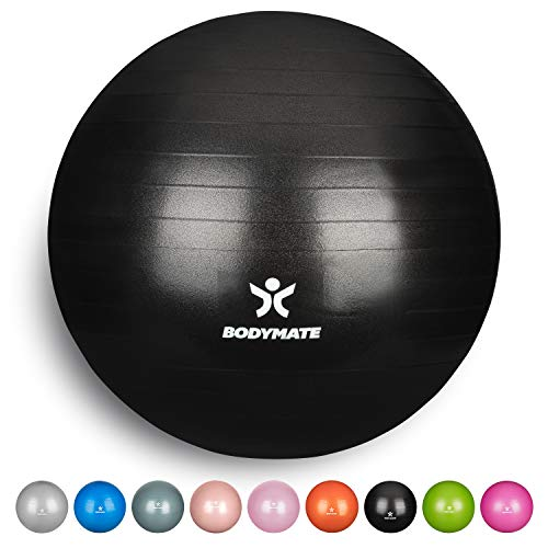 BODYMATE Ballon Fitness + Pompe Incluse + E-Book Gratuit - 75cm - Noir
