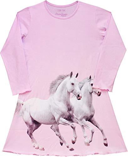 Pampress Mädchen Langarm Nachthemd mit Pferde Motiv (rosa, 164-170)