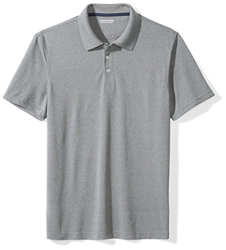 Amazon Essentials Men's Slim-Fit Quick-Dry Golf Polo Shirt, Heather Grey, Medium