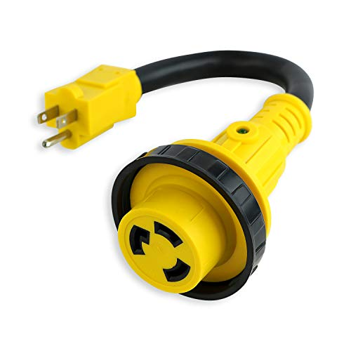 Leisure Cords Trailer dogbone adapter 15 amp male to 30 amp female locking connector with LED Power Indicator