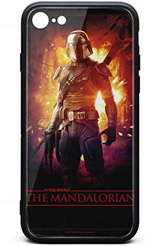 Funda para iPhone 8/iPhone 7 The-Mandalorian-Art- Unisex de moda de vidrio templado negro anti-arañazos TPU goma parachoques protector trasera