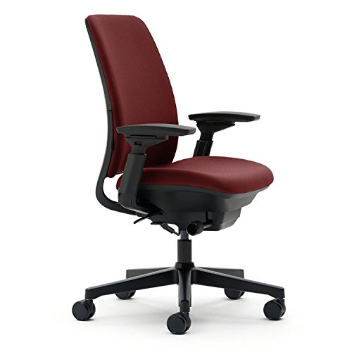 Steelcase Amia Ergonomic Office Chair with Adjustable Back Tension and Arms | Flexible Lumbar with Sliding Seat | Black Frame and Buzz2 Burgundy Fabric