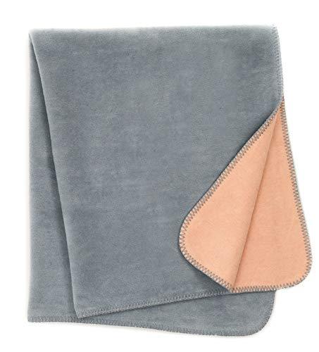 Babydecke/Kuscheldecke für Babys, kuschelig weich, Baumwollmischgewebe, 100x120 cm, Lachsfarben/Grau