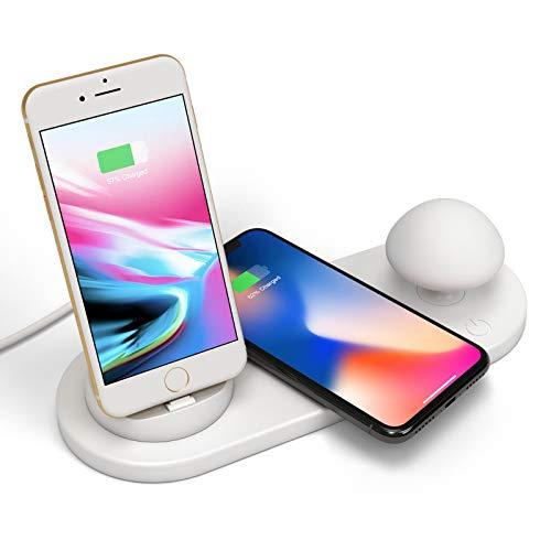 Bias&Belief Soporte de Cargador Inalámbrico 3 En 1,Cargador de Teléfono Móvil + Cargador Inalámbrico + Luz de Hongo Pequeña,Cargador de Base Giratorio de 360 °,para iPhone/Micro/Type-C