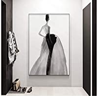 モダンインクFashioncanvasアートポスターフィギュアペインティング壁画、女の子の優雅な姿勢、リビングルームの寝室の通路の家の装飾-30X40Cmフレームなし