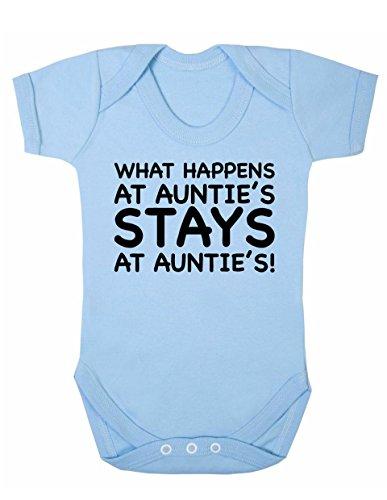 "Body de manga corta unisex con texto en inglés""Art HUSTLE What Happens At Auntie's Stays At Auntie's Baby Boy Girl"" (limón, 3 a 6 m)"