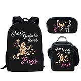 Howilath Juego de 3 mochilas escolares para adolescentes y niñas, impresión colorida de flores de 17 pulgadas, caja de almuerzo con estuche para lápices, Just a Girl Who Loves Frogs (Multicolor) - CGK