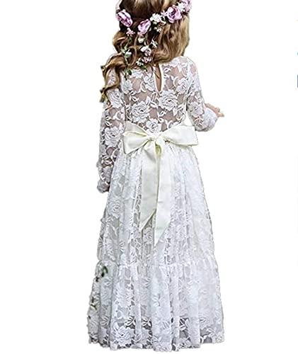 Little Flower Girl Fancy Ivory White Lace Boho Long Sleeve Full Length Slim Maxi Princess Dresses
