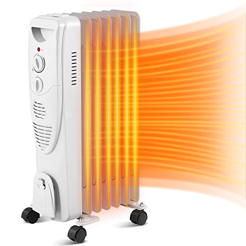 Antarctic Star Oil Filled Radiator Space Heater, Quiet 1500W, Adjustable Thermostat, Overheat & Tip-Over Protection, Electric Space Heater for Bedroom,GREY