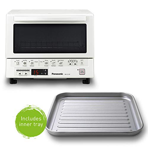 Product Image 10: Panasonic FlashXpress Compact Toaster Oven with Double Infrared Heating, Crumb Tray and 1300 Watts of Cooking Power – 4 Slice Countertop Toaster Oven – NB-G110P-W (White)