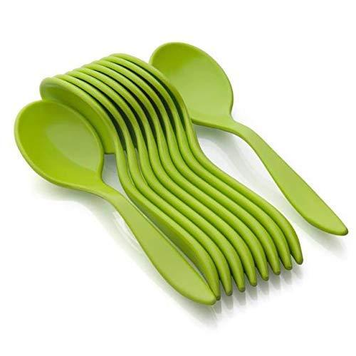 Toxham Stylist Unbrekable ABS Stylist Spoon Set-10 Pcs (Green)
