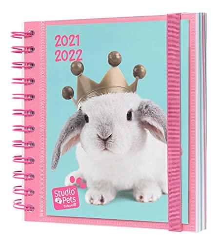 Grupo Erik - Agenda Scolaire 2021 2022 Studio Pets Rabbits | Agenda Journalier d Août à Juin - Agenda Spirale 14,5x16 cm | Idéal pour le Collège ou le Lycée