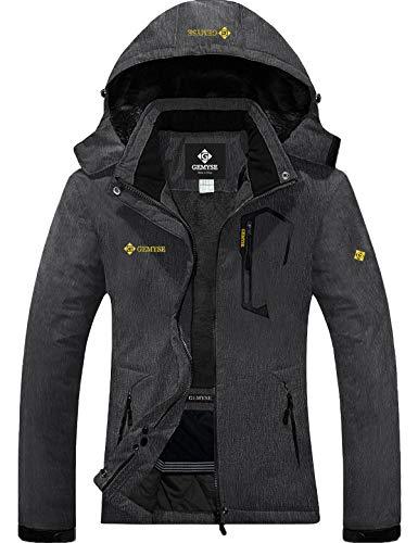 GEMYSE wasserdichte Berg-Skijacke für Frauen Winddichte Fleece Outdoor-Winterjacke mit Kapuze (Graphitgrau,XL)