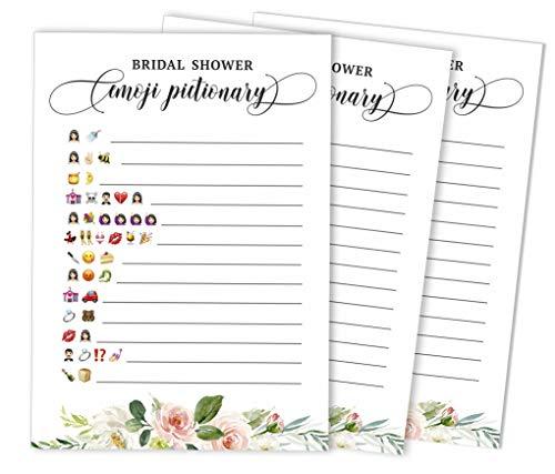 Inkdotpot Blumen Brunch & Sekt 50-Pack Emoji pictionary Brautdusche Spielideen Polterabend Bachelorette Party Bulk Aktivität Spiele