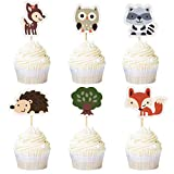 Ercadio 24 Pack Jungle Animal Cupcake Toppers Woodland Creatures Theme Cupcake Picks Baby Shower Kids Birthday Safari Party Cake Decoration