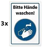 3 hochwertige Aufkleber Bitte Hände waschen, Hinweisschild, Folie selbstklebend DIN A4 (210 x 297 mm)